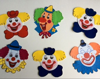 Clown face set of 6 wall decoration cutout.