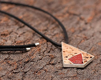 """Silver and Cork Necklace """"Magnetic"""" - Handmade Cork Jewelry - FREE SHIPPING"""