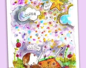 A4 personalised print of an original watercolour artwork 'Hello Star'
