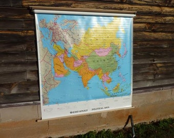 Vintage Asia Map Pulldown School Map