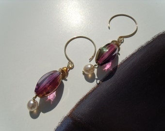 Purple violet Czech glass beads earrings