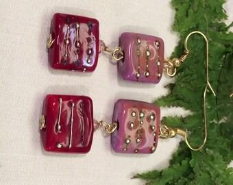 Raspberry and Pink Lampwork Drop & Dangle Square Earrings Newly Artisan Handmade