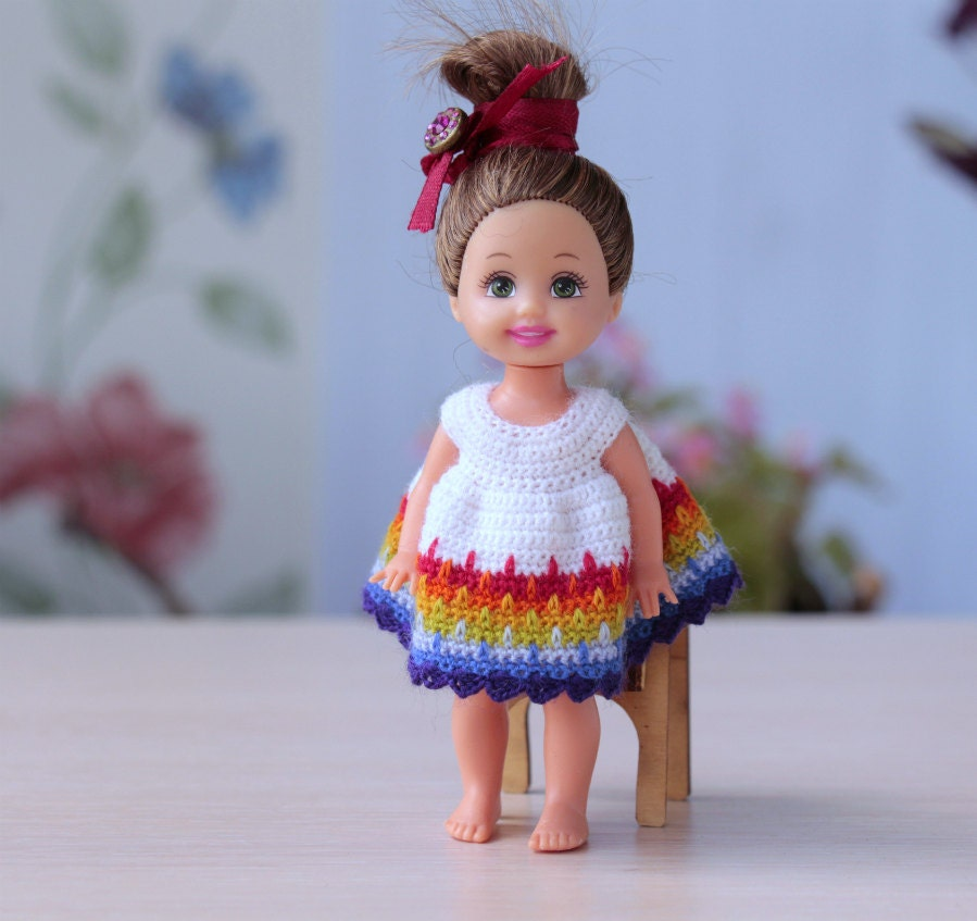 Crochet Mini Doll Clothes : Crocheted white Dress for 4 doll. Miniature by Creativhook