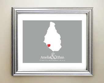Montserrat Custom Horizontal Heart Map Art - Personalized names, wedding gift, engagement, anniversary date