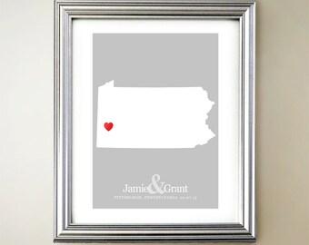 Pennsylvania Custom Vertical Heart Map Art - Personalized names, wedding gift, engagement, anniversary date