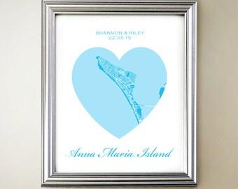 Anna Maria Island Heart Map