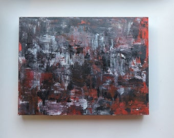 Red - black - grey - white Original Abstract painting  Acrylic painting on stretched Canvas Modern Art Home decor Wall Art