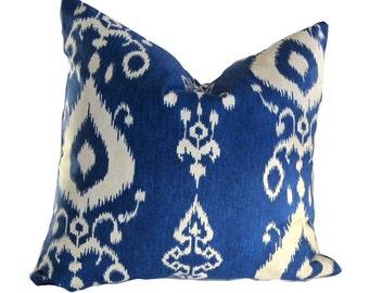 "Kravet ""Pantan"" Fabric pillow, B;ue and White, Ikat, Kilm, Southwest Design"