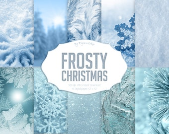 """Christmas digital paper: """"FROSTY CHRISTMAS"""" set consists of holiday, Christmas and winter backgrounds, textures and x-mas backdrops"""
