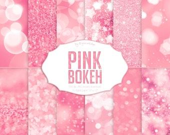 "Pink Digital Paper: ""Pink Bokeh & Glitter"" - glitter paper set with pink glitter textures, bokeh stars and hearts, digital paper."