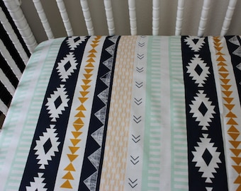 Fitted Crib Sheet.  Aztec fitted crib sheet, Baby Bedding, tribal  baby bedding, Aztec baby bed, Baby Girl Bedding, Navajo bby bedding