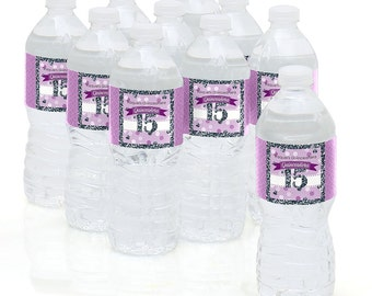 Quinceanera - Purple - Water Bottle Sticker Labels - Personalized Waterproof Self Stick Labels - Sweet 15 - Birthday Party Favors - 10 Ct.