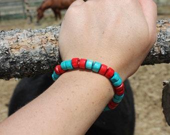 Painted wood bead bracelet #3