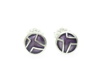 Geometric Stud Earrings,Tiny Circle,Small Stud Earrings,CircleEarrings,Geometric Post Earrings,Enamel Earrings,Enamel Jewelry,Purple Enamel