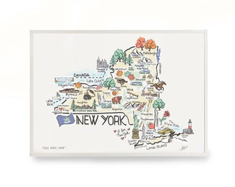 New York Map Etsy - Ney york map