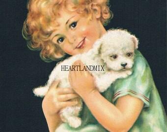 Little Girl Holding Puppy Vintage Charlotte Becker Digital Graphic Art Image Nursery Decor