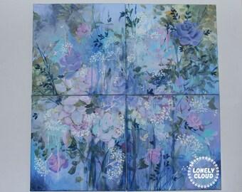 "Floral Quadriptych |""shattered splattered"""
