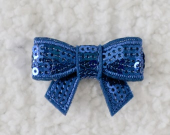 "1.5"" Mini Sequin Bow Appliques, Embellishments for Headbands, DIY Crafting Supplies, Mini Applique Sequin Bow, Royal Blue, Lot of 1 or 2"