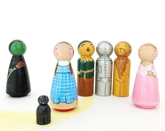 "Wizard Of Oz 3 1/2"" Peg doll play set // wooden toys // Dorothy and Toto // Peg dolls // Wicked Witch - Tin Man - Lion - Scarecrow"