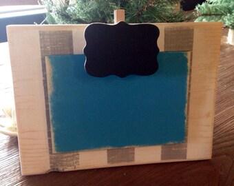 Wood block photo memo recipe frame 4x6