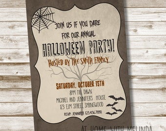 Halloween Party Invitation, Halloween invitation, halloween, Join us if you dare, Fall, Spooky, October Party,  5x7 DIGITAL FILE ONLY