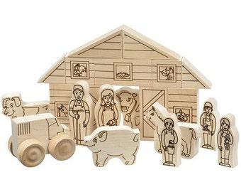 Wooden Blocks Natural Farm Play Set