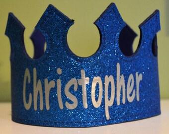Personalized Glitter Felt CROWN. Birthday crown. Princess Party Favor. Princess Crown. Prince Crown. Name Crown. Glitter Name Crown.