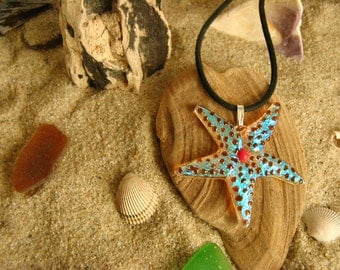 Fused Dichroic Glass Starfish Pendant