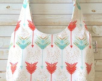 Coral And Teal Arrows Hobo Bag, Shoulder Bag, Over The Shoulder Bag, Sling Bag, Medium Size Purse, Canvas Bag
