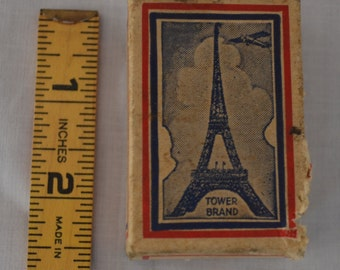 Old Tower Brand Carpet Tack Cardboard Box - Eiffel Tower with Airplane Illustration - 1/4 lb. box - Tower Manufacturing Co Madison Indiana