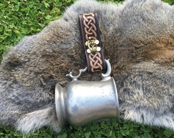 Leather Celtic Tankard Strap