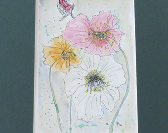 New- Original Watercolor painting of Poppies- free shipping USA