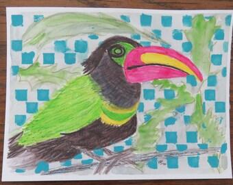 New-Original Painting of a fun Toucan-free shipping USA
