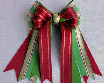Holiday Hair Bows, Horse Shows, Hair Accessory, Green Gold Red/Christmas