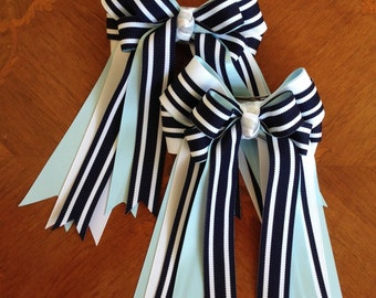 Horse Show Hair Bows/Beautiful Blue White Equestrian Clothing/Ready2Mail with clips