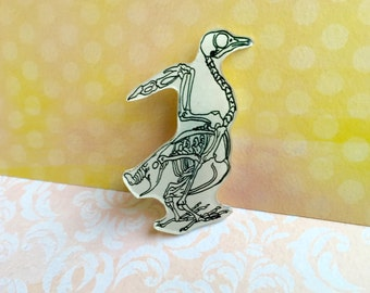 Hand Drawn Bird Skeleton Shrink Plastic Brooch, One of a Kind Brooch - Ready to Ship