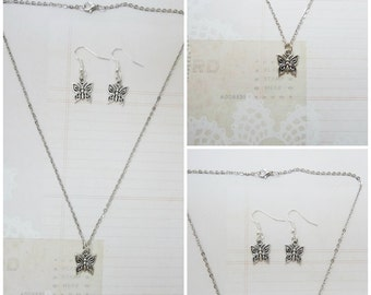 Silver Butterfly Necklace and Earring Jewelry Set - Ready to Ship