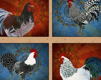 Rise And Shine Quilt Fabric Panel Roosters Chickens High Quality Cotton Quilting Treasures