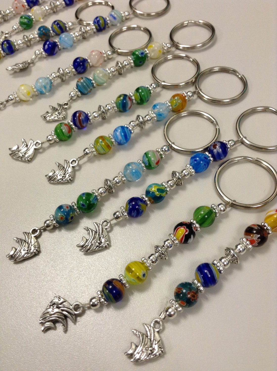 set of 12 tropical fish beaded keychains fish extender gifts