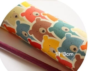 Colorful Bear Pattern 20s Cotton Fabric by Yard