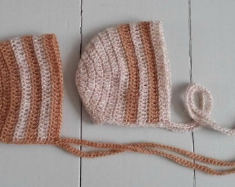Two baby bonnets in off white/ hand knit crochet hats for newborn twins/ photo prop for twins