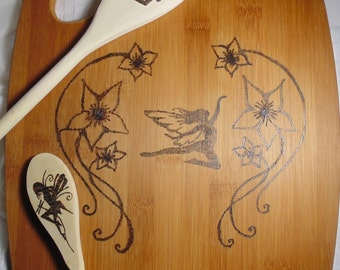 Fairy Cutting Board and Spoon Set