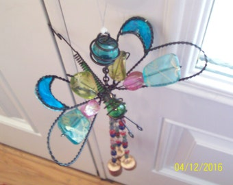 Dragonfly Wind Chime Pink Green Turquoise Garden Art