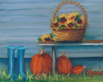 Fall Wellies, country art, oil painting, ready to hang, original art, fall art, sunflowers