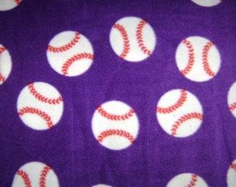 Remnant - Purple Baseball Fleece Fabric 33 Inches