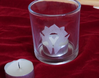 world of warcraft inspired glass tea candle holder with one candle
