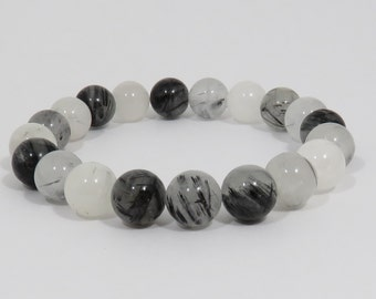 Tourmalinated Quartz Bracelet, 10 mm, Rutilated Quartz, Black and White Stone Bracelet, Mens Bracelet, Womens Bracelet