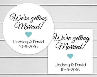 Save The Date Sticker, We're Getting Married Sticker, Wedding Stickers, Wedding Invitation Envelope Seal (#356)