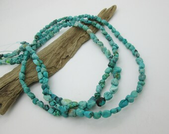 "Natural Turquoise Nugget Beads, Kingman Arizona Turquoise, Blue Turquoise Bead, Genuine Turquoise, 6-9x7mm (8""loose)"