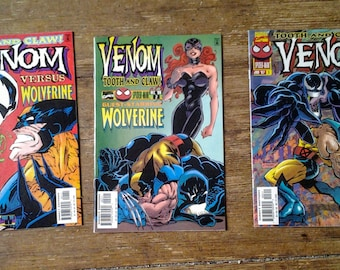 Venom: Tooth and Claw; Vol 1, 1 - 3 Full Limited Series Modern Age Comic Book Lot.  NM (9.4).  1996.  Marvel Comics